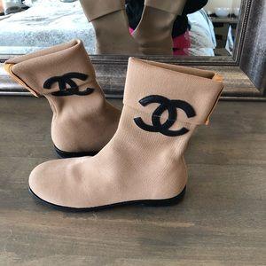 Chanel camel sock boot